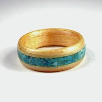 Wooden Ring Maple with Turquoise Inlay