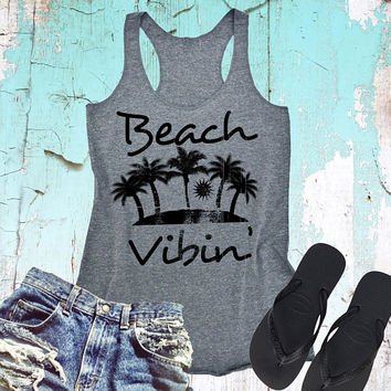 Beach Vibin Racerback Triblend Tank Top - Summer Tank Top - Vacation Shirt - Beach Tank Top - Distressed Tank.