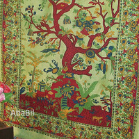 Twin Cotton Tree of Life Tapestry Wall Hanging Indian Bedspread Hippie Bohemian Throw Ethnic Home Decorative Art