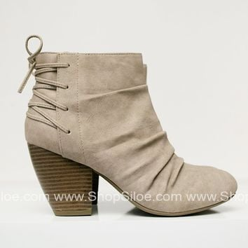 Stone Lace Up Booties