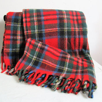 Vintage 1970s Wool Stewart Tartan Throw Haddon Hall Eatons of Canada Red Green Plaid Wool 70s Throw