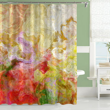 Contemporary shower curtain, abstract art, red, yellow, green shower curtain, Morningside