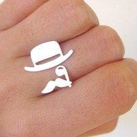 Mr. Mustache with Top Hat and Monocle ring- Handmade Silver Ring sale