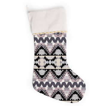 "Victoria Krupp ""Nordic Ice"" Black Pastel Digital Christmas Stocking"