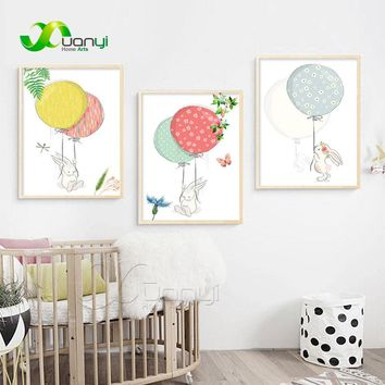 Nordic Cartoon Animal Rabbit Balloon Canvas Painting Wall Art Picture Nordic Poster Home Decor Picture For Kids Room Unframed