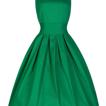 Green Sleeveless V-Neck Tent Mini Dress