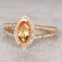 10x5mm Marquise Cut Citrine Engagement Ring Diamond Wedding Ring 14K White Gold Split Shank