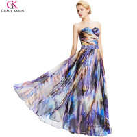 Long Evening Dress Grace Karin Chiffon Beaded Pattern Vintage Galaxy Space Print Dress Pleated Formal Gowns Evening Party Design