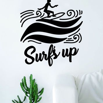 Surf's Up Wave Surfer Quote Decal Sticker Wall Vinyl Art Home Room Decor Travel Adventure Inspirational Nautical Ocean Beach Sports