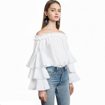 Fashion Women Butterfly Sleeve Slash Neck Shirt Solid White Cute Female Tops Off-Shoulder Casual Bluose