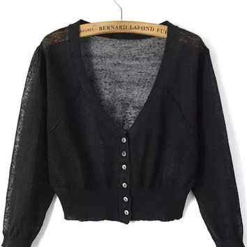 Black V-Neckline Buttons Down Knit Crop Cardigan