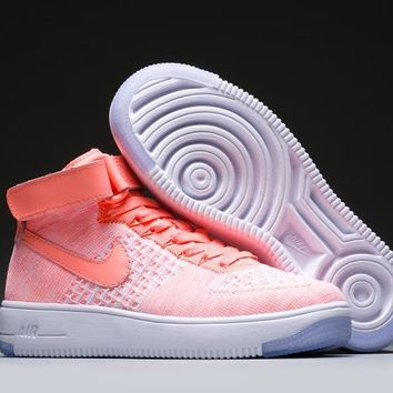 LMFON Nike Air Force 1 Flyknit Mid-High 818018-608 Orange For Women Men Running Sport Casual Shoes Sneakers
