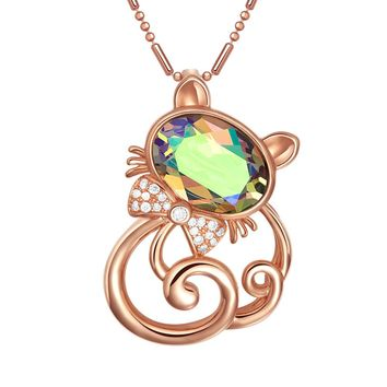 Fancy Cute Magical Kitty Cat Good Luck Charm Mystic Crystals Gold-Tone Amulet 18 Inch Necklace