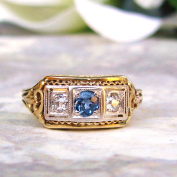 Art Deco Engagement Ring 14K Two Tone Gold Filigree Ring Antique Sapphire & Diamond Wedding Band Three Stone Anniversary Ring Size 4!