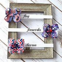 3 inch 4th of July hair bow headbands for newborns, babies, toddlers and girls. Available in 3 styles