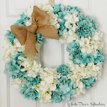 Blue and White Spring Hydrangea Wreath, Front Door Wreath, Summer Wreath, Teal, Turqouise, White, Wedding Wreath, Indoor Wreath, Burlap Bow
