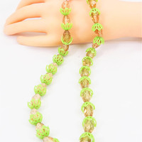 West Germany Green and Pink Necklace, Lucite Petals and Apple Juice Beads, Pink Beaded Gold Tone Metal Clasp