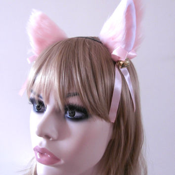 Faux Fur Miss Piggy Cat Ear Hair Clips Light Pink White Bells and Satin Ribbon Bow Lolita Neko Kitty Kawai Soft High Quality Gothic Headband