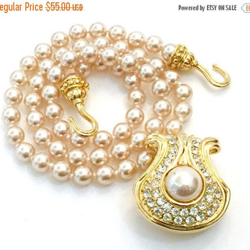 Nolan Miller Faux Pearl Pendant Necklace, Glamour Collection, Statement Necklace, Pave Austrian Crystals, Wedding Jewelry, Special Occasion