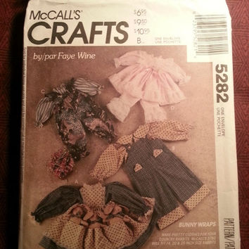Uncut 1991 McCall's Sewing Pattern, 5282! Faye Wine Designs/Bunny Wraps/14-25 inch Doll Clothes/Country Rabbits Doll Accessories/Crafts