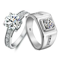 Name Engraved 2 Carat Diamond Gold Engagement Rings for Two
