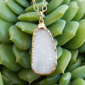 White Druzy Necklace 14K Gold Freeform Crystal Quartz Drusy Pendant Gold Filled Chain - Free Shipping OOAK Jewelry