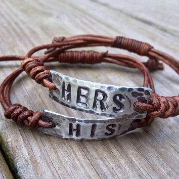 HIs and Hers set of ID Bracelets, silver, leather, Hand Stamped, Inspirational jewelry, bracelet with words, couples anniversary gift