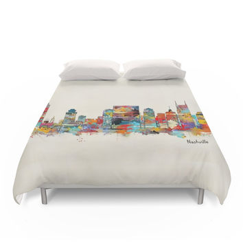 Society6 Music City Tennessee Skyline Duvet Covers