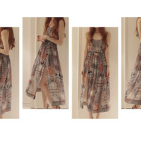 Bohemian Style Retro Pattern Spaghetti Strap Chiffon High Kick Long Dress