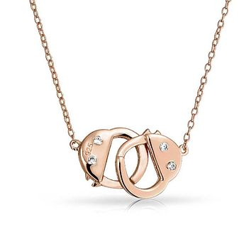 Rose Gold Plated Handcuff Necklace CZ 925 Sterling Silver Pendant