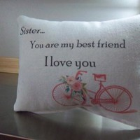 Sister gift pillow gifts for sister throw pillow cotton cushion