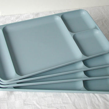 Blue Tupperware Trays  Set of 4 Picnic Trays