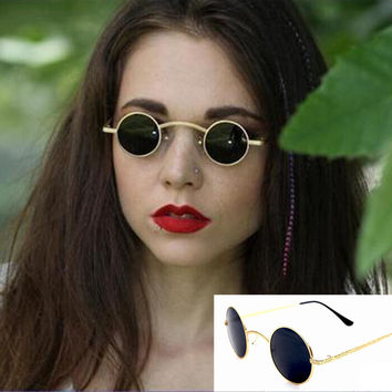 AEVOUGE Victorian Sunglasses Vampire Goth Steampunk Small Round Metal Hollow Frame Men Sunglasses Women Unusual Metal Eyewear