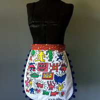 KEITH HARING - Upcycled Band/ Concert T-shirt Waist Apron