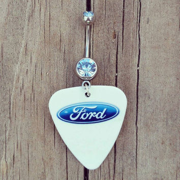 Ford Guitar Pick Dangle Belly Button Ring with light blue cz stone Silver Surgical Steel Naval Body Jewelry 14 gauge
