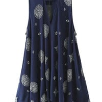 Navy Tribal Pattern Keyhole Flare Dress