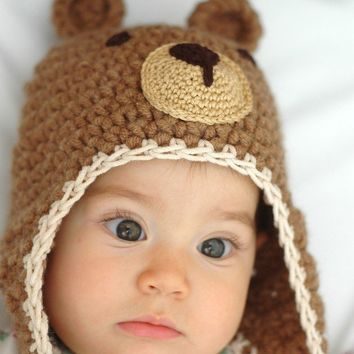 Teddy Bear  Hat Newborn and 03M by beliz82 on Etsy