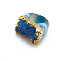 Gold Plated Blue Druzy Agate Ring - Oia Jules