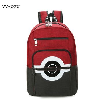 New Pocket Monsters Cartoon Women Men Canvas Backpack 5 Colors  Poke Ball Shoulder Bags Rucksack Bookbags Mochila EscolarKawaii Pokemon go  AT_89_9