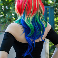 20% OFF SALE Parrot / Rainbow / Long Curly Layered Cosplay My Little Pony Wig