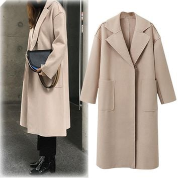 Autumn New Style Cashmere Loose Solid Color All-Match Double Breasted Turn-down Collar Medium Style Overcoat