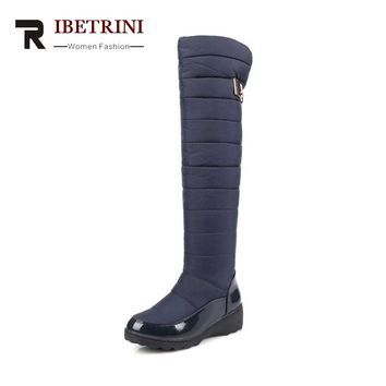 RIBETRINI Women's Winter Boots Warm Fur Shoes Woman Over Knee High Snow Boots Slip-On Waterproof Platform Big size 34-43
