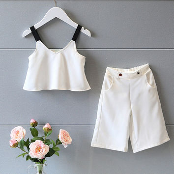 Fashion Children's Kids Infants Baby Roupas GirlsStraped Crop Tops T-shirt+ Wide Pants 2 Pieces Clothing Sets Suits S3228