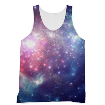 Pink and Blue Starry Galaxy American Apparel Sublimation Vest