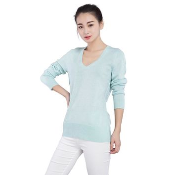 Spring Autumn Fashion Women Pullover Sweater Jersey with Silver and Golden Lines V-Neck Long Sleeve Slim Jumper