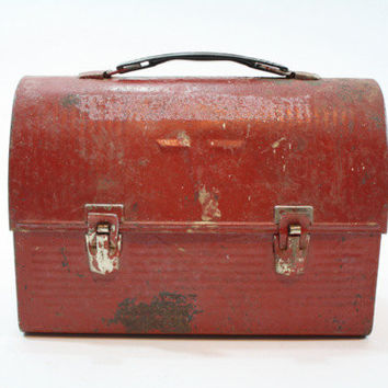 Vintage Red Lunch Pail / Aladdin Metal Lunch Bucket