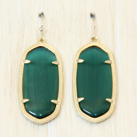 Kendra Scott Elle Earrings - Emerald Cat's Eye
