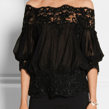 Marchesa | Embellished tulle and silk-chiffon blouse | NET-A-PORTER.COM