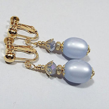 Periwinkle Blue Earrings, Pastel Drop, Gold Plated, Spring Jewelry, with Vintage Moonglow Lucite Beads, Clip on Earrings Lever Back Hook