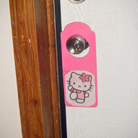 Hello Kitty door knob hanger; Decoupage door accessory; Girls pink room accessory; Hanging wall art; Childrens Wall decor, free shipping USA